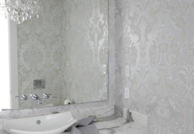 Bathroom Damask Wallpaper