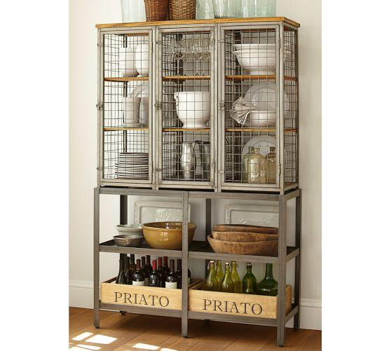 Industrial Caged Gray Storage Cabinet