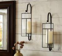 Black Iron and Paned Glass Candle Wall Sconce