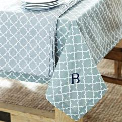 Blue Dot Chairs Stool Chair With Fabric And White Moroccan Tile Monogram Tablecloth