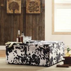 Cow Print Chairs Target Rope Chair Decor Black White Hide Modern Storage Ottoman