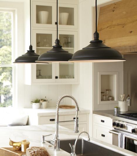 Black Vintage Barn Pendants  Transitional  kitchen