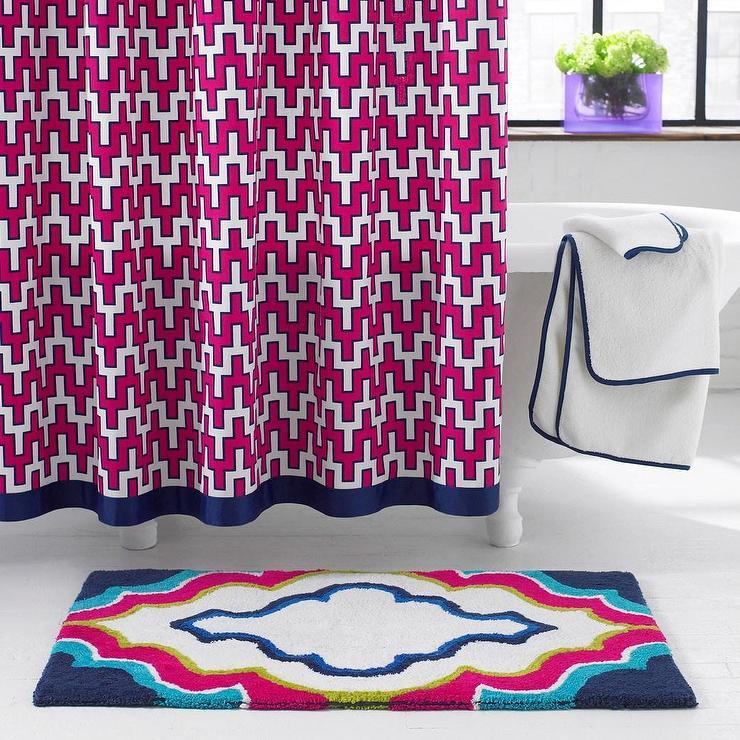 Border Pink Geometric Chevron Pattern Shower Curtain