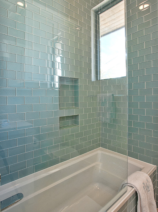 blue glass subway tiles contemporary