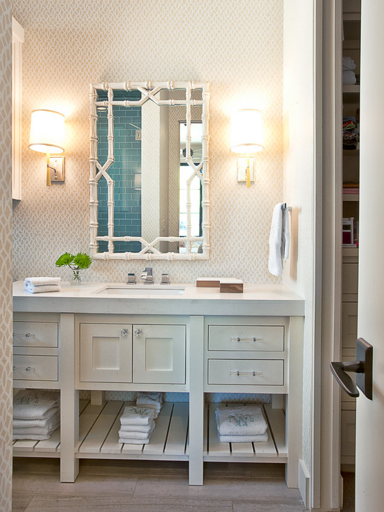 White Bamboo Mirror  Transitional  bathroom  Glynis Wood Interiors