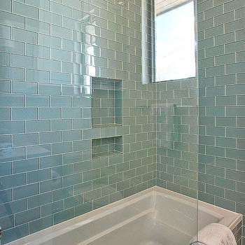 blue glass subway tile tub surround