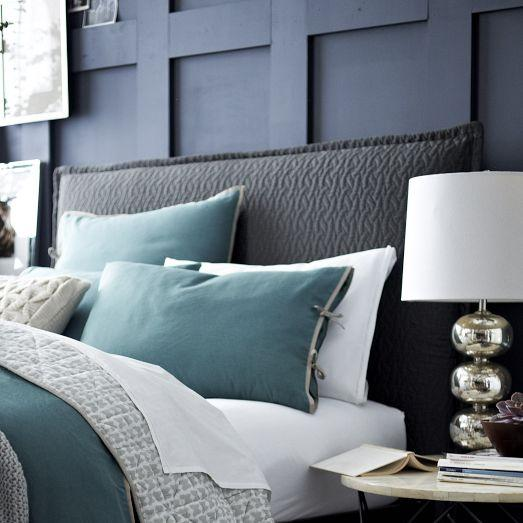 chair pillows for bed phil teds poppy high matelasse slipcover headboard - feather gray west elm
