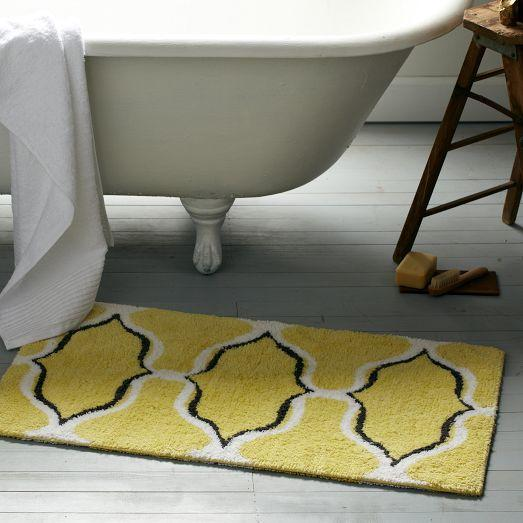 Grey And Yellow Bathroom Rugs