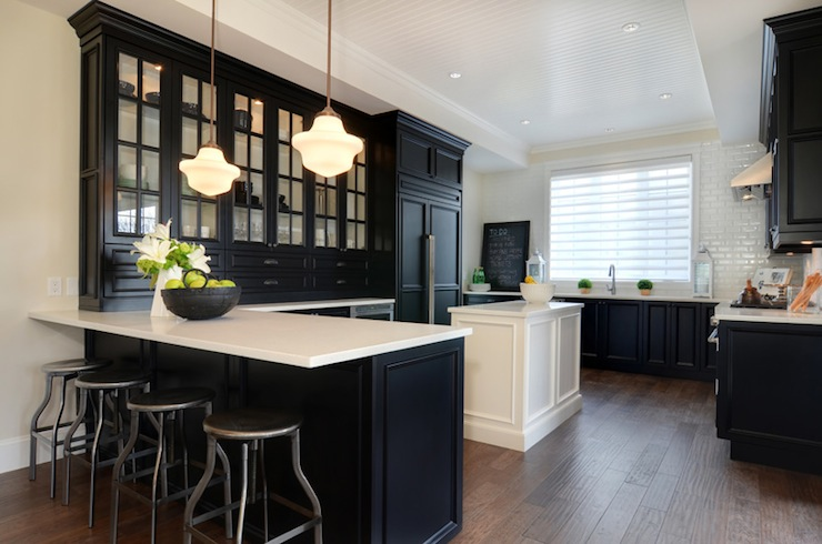 Black KItchen Cabinets with White Countertops  Transitional  kitchen  Jillian Harris