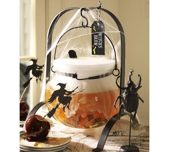 Glass Cauldron Punch Bowl with Ladle