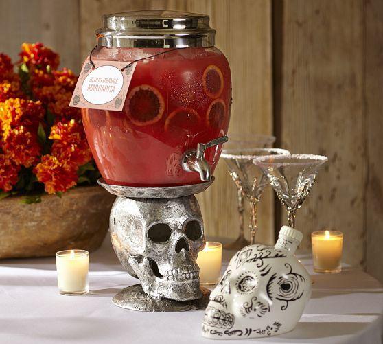 Silver Skull Drink Dispenser Stand