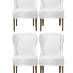 White Cotton Wing Chair Slipcover Active Sitting Reviews Chic Combo - Maddox Chairs Set Of 4 Z Gallerie