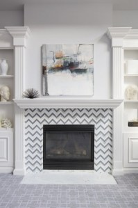 Chevron Fireplace Surround - Transitional - living room ...