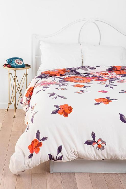 Orange Floral Garden White Duvet Cover