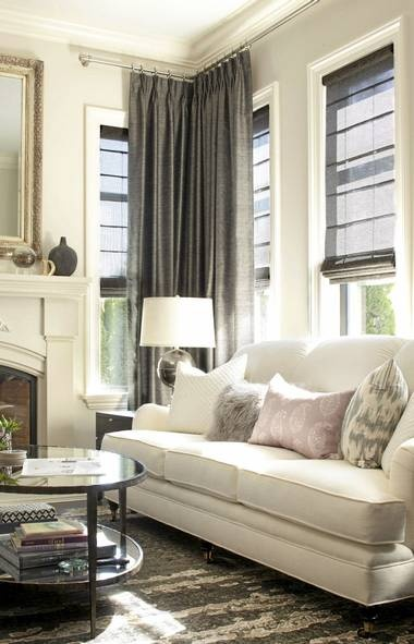 Gray Drapes  Transitional  living room  Kelly Deck Design