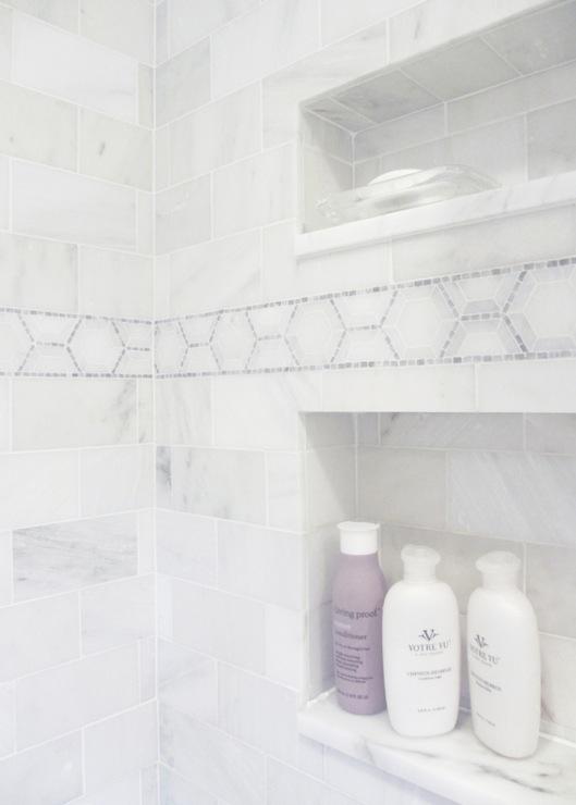 White Marble Shower Surround  Transitional  bathroom
