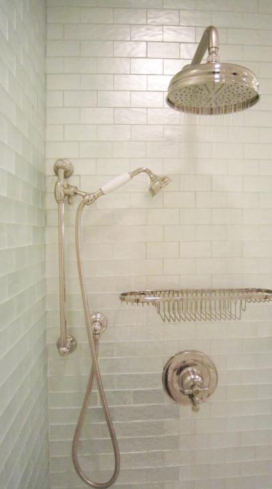 glass tile shower transitional