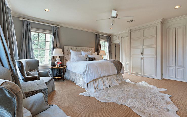 Gray Silk Curtains  Transitional  bedroom  Cote de Texas