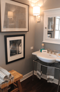 White and Gray Bathroom - Transitional - bathroom - Brown ...