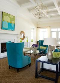 Turquoise Wingback Chairs - Transitional - living room ...