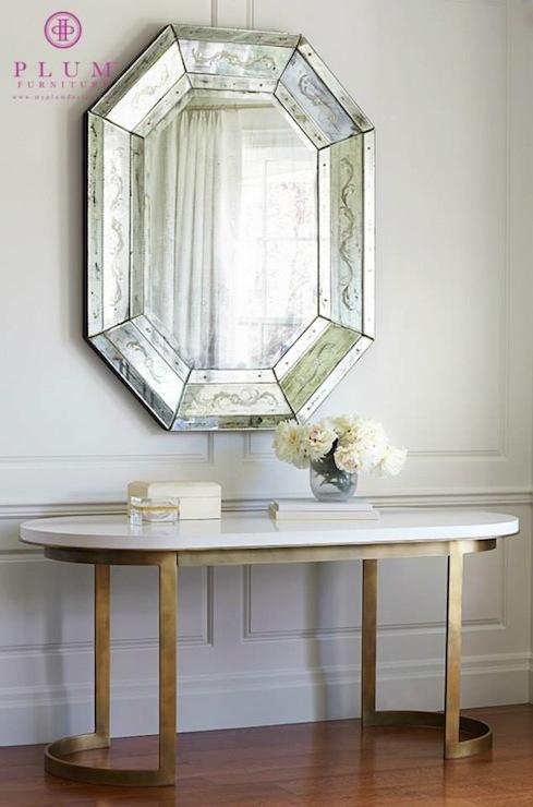 Oval Console Table  Transitional  entrancefoyer  Plum