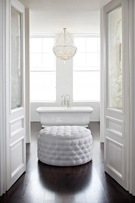 White Tufted Ottoman Transitional Bathroom Cynthia Brooks Design
