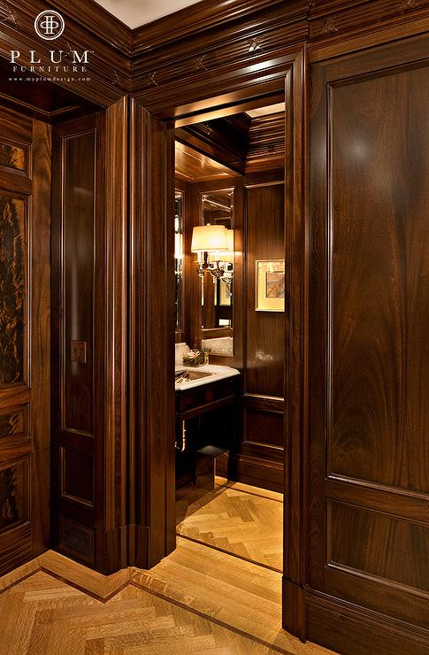 Mahogany Paneled Walls  Traditional  bathroom  McGill