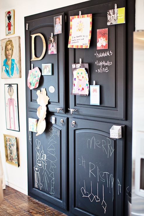 Pantry With Chalkboard Doors Transitional Kitchen