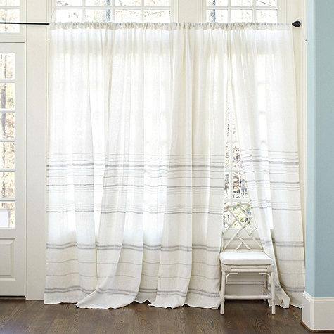 Madeline Gray Striped White Linen Panel