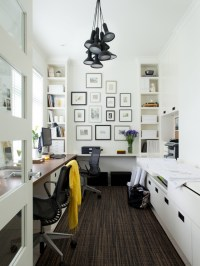 His and Her Desk - Contemporary - den/library/office ...