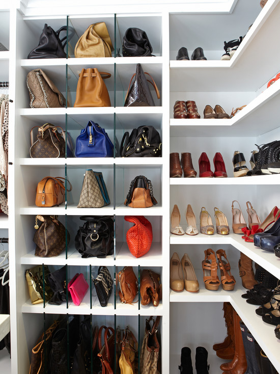 Beautiful Girl Hand Wallpaper Shelves For Handbags Transitional Closet La Closet