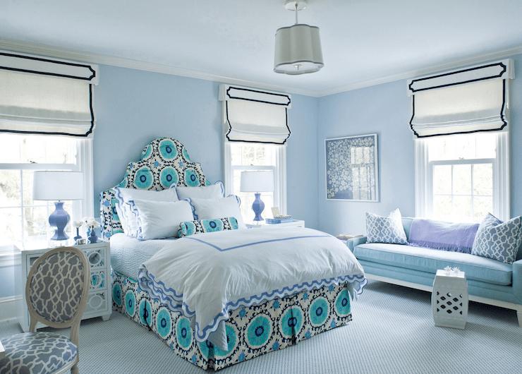 Bedroom with Blue Walls  Contemporary  bedroom