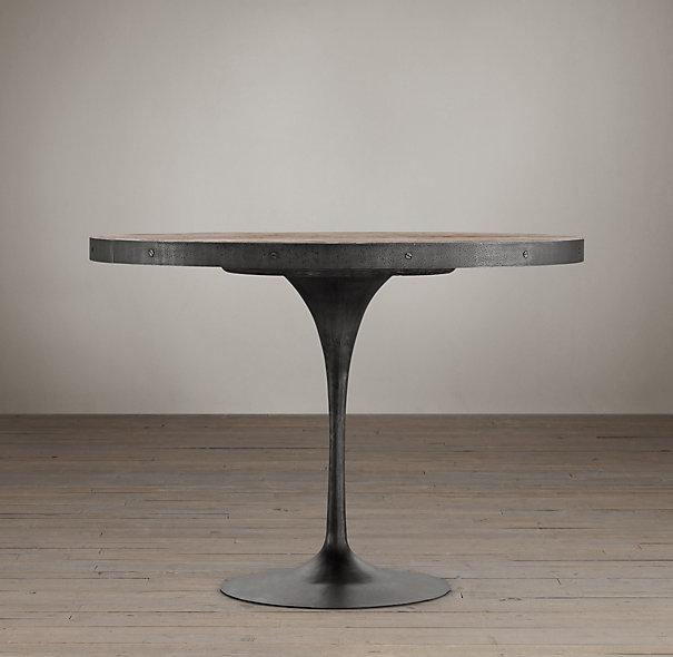3d Reclaimed Wood Wallpaper Aero Wood Top Round Metal Dining Table