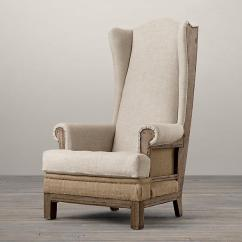 Nailhead Wingback Chair Doll Rocking Deconstructed Ivory Burlap Highback Wing