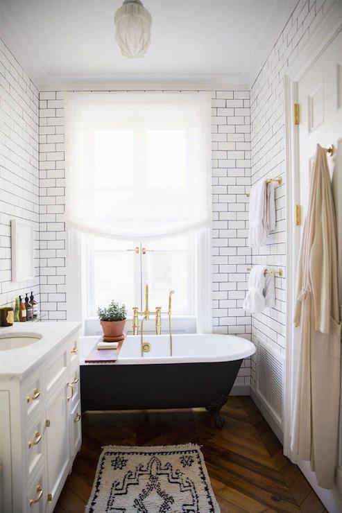 White Vanity Brass Pulls  Eclectic  bathroom  Domino
