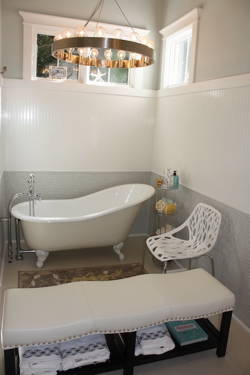 small chair mat theater seat covers beadboard walls - eclectic bathroom birds of a feather design