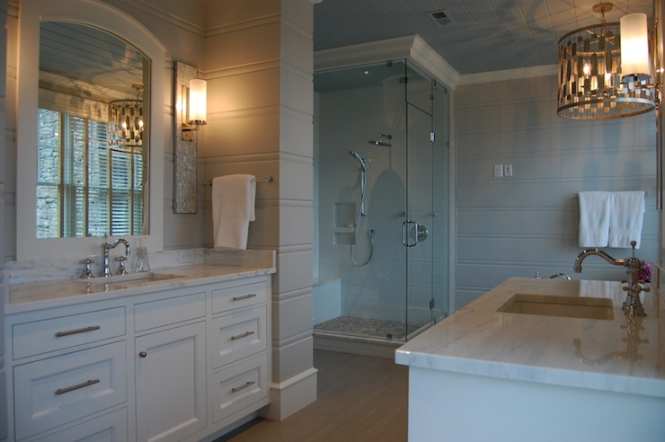 Alabama White Marble  Transitional  bathroom  Birds of