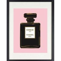 Black and Pink Coco Chanel Noir Perfume Bottle Art Print