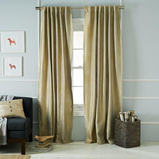 Gold Metallic Basketweave Curtain