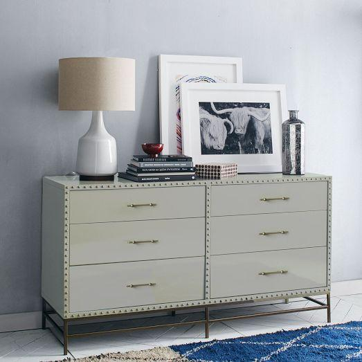 Nailhead Trim 6Drawer Gray Dresser