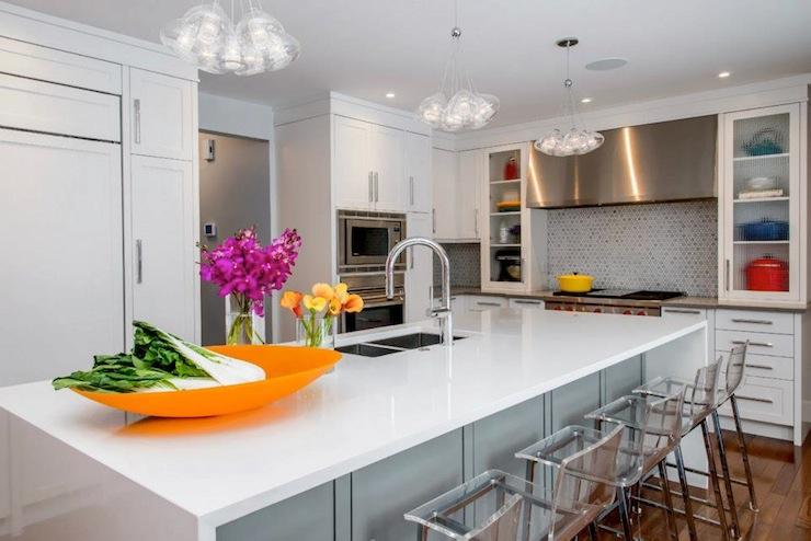 undermount kitchen sink drum light acrylic counter stools - contemporary ...