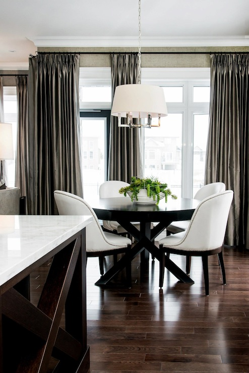 Taupe Silk Curtains Contemporary Dining Room Atmosphere