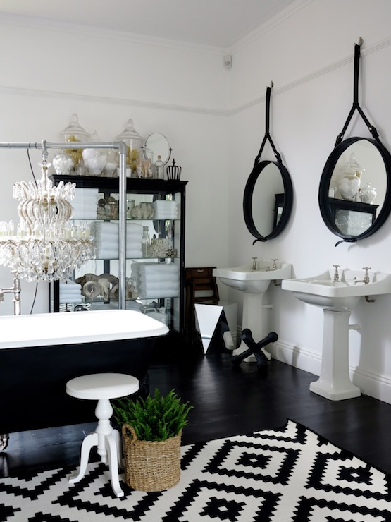 Black and White Kilim Rug  Eclectic  bathroom  47 Park