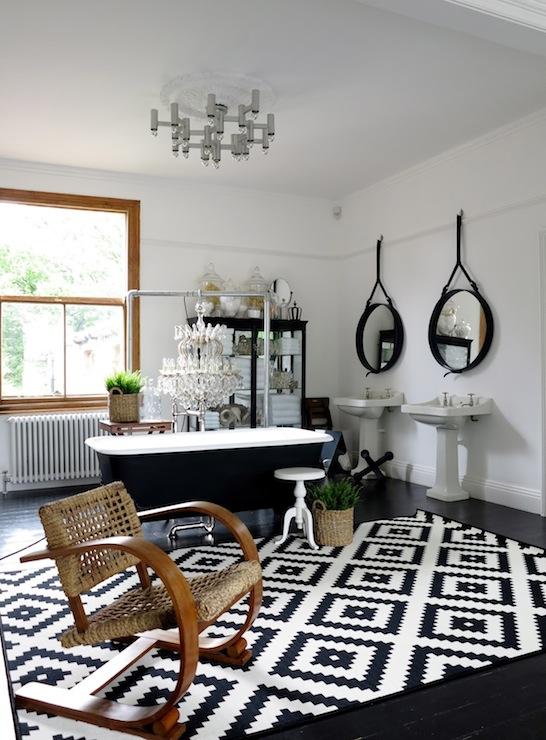 Black and White Kilim Rug  Eclectic  bathroom  47 Park Avenue