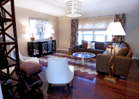 Brown and Purple Living Room - Contemporary - living room ...