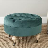 Clara Marine Cotton Fabric Tufted Green Round Ottoman