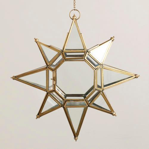 Large Gold Trim Clear Star Lantern