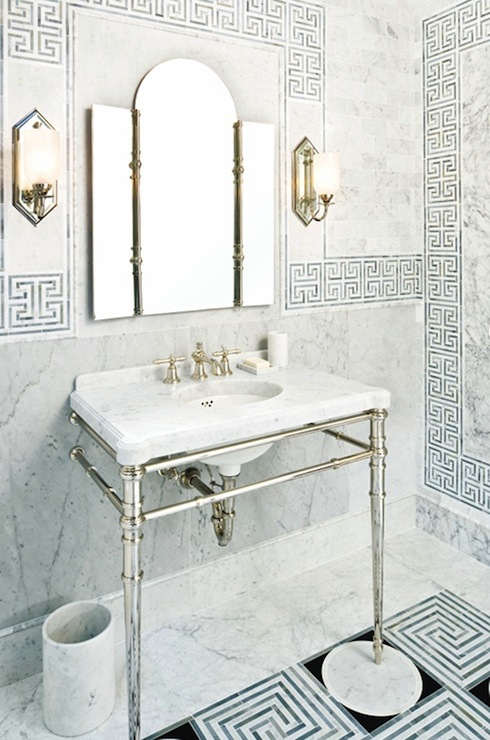 Greek Key Tiles  Contemporary  bathroom  Style at Home