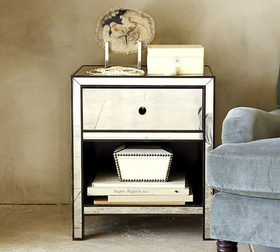 Marnie Mirrored One Drawer Bedside Table