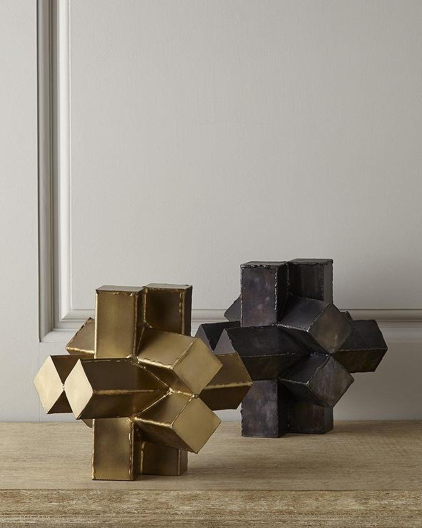 Abstract Gold and Black Geometric Sculpture